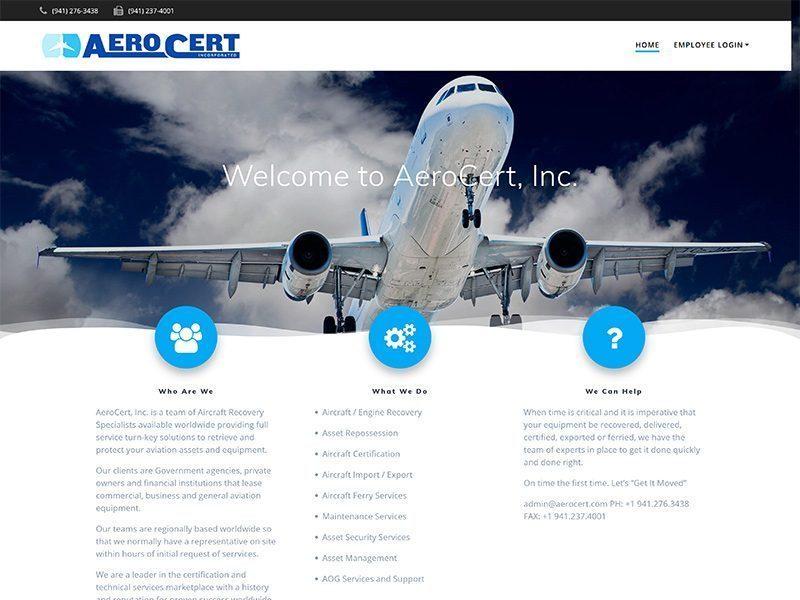 Web design for AeroCert