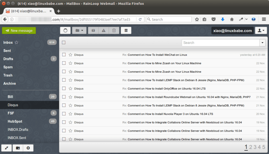 Rainloop webmail for small business email